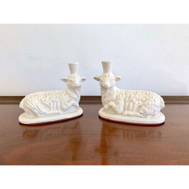 Clay White Terracotta Vintage Lamb Candle Holders - a Pair For Sale - Image 7 of 7