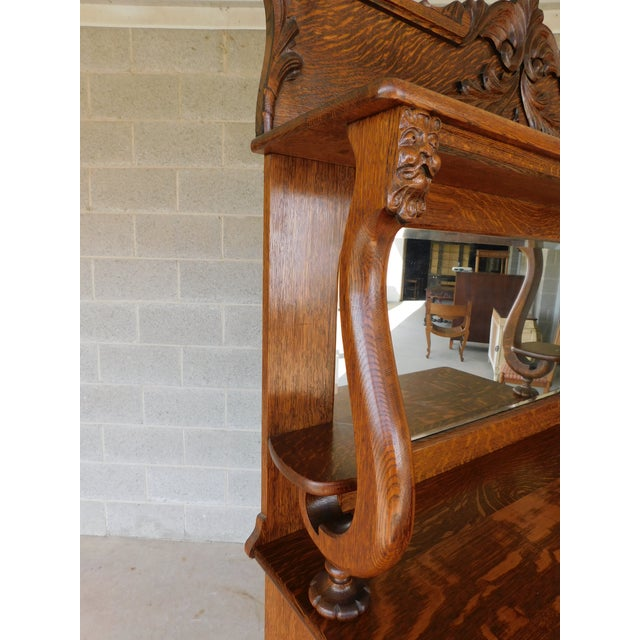 "Figurative Antique Oak Lions Head Carved Mirrored Back Sideboard 49""w For Sale - Image 3 of 11"