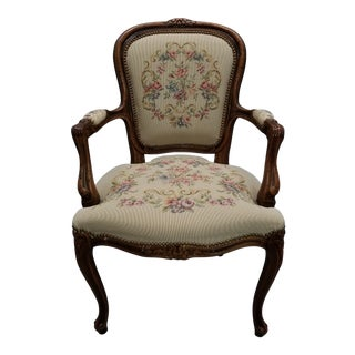 Chateau d'Ax Italian Needlepoint Chair For Sale
