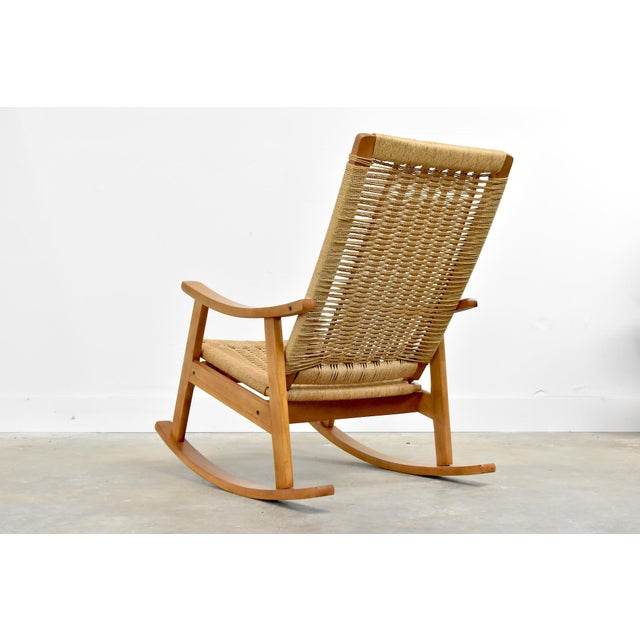1960s Mid-Century Hans Wegner Style Rope Rocking Chair For Sale - Image 5 of 13
