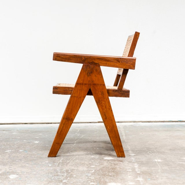 Mid-Century Modern Office Armchair by Pierre Jeanneret, India, 1950s For Sale - Image 3 of 9