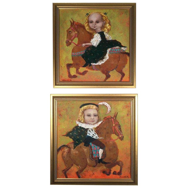 1990s Vintage Russian Whimsical Paintings by Elena Kallistova- A Pair For Sale