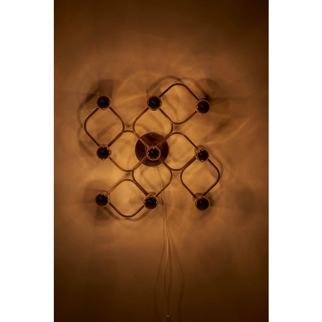 Leola Brass 9-Light Sciolari Flush Mount Wall or Ceiling Lamp by Leola For Sale - Image 4 of 8