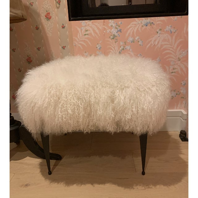 adorable goat fur cushion ottoman with italian brass thin legs - perfect brand new condition