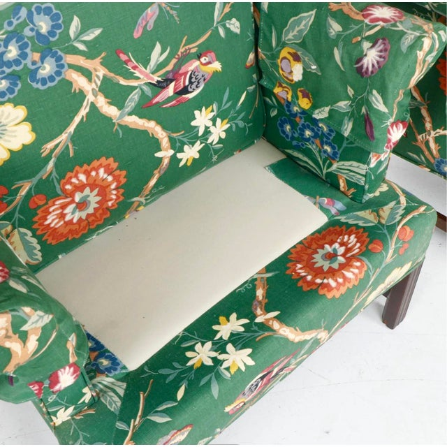 Green Vintage George III Style Wingback Chairs - a Pair For Sale - Image 8 of 10