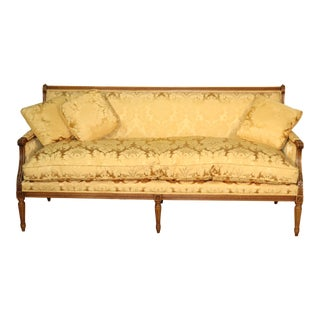 French Louis XVI Carved Walnut Yellow Damask Settee Canape, Circa 1960 For Sale