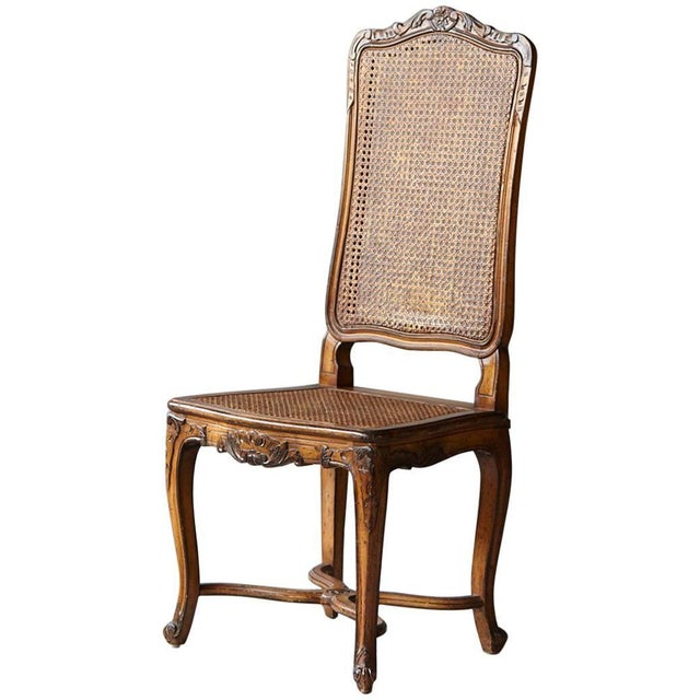19th Century Louis XV Style Caned High Back Wood Chaise For Sale - Image 11 of 11