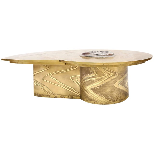 Marc D'Haenens Brass Coffee Table with Inlaid Polished Ammonite For Sale