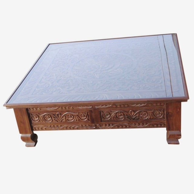 Lotus Carved Glass Top Coffee Table - Image 2 of 5