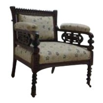 Antique Victorian Carved Fireside Lounge Living Room Arm Chair For Sale