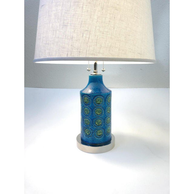 Italian Ceramic and Nickel Table Lamps by Bitossi - a Pair For Sale - Image 9 of 10