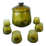 Image of Vintage Mid-Century Avocado Green Art Glass Punch Bowl & Cups - Set of 7 For Sale