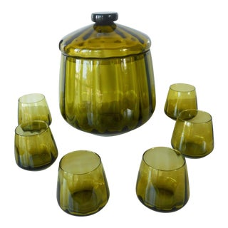 Vintage Mid-Century Avocado Green Art Glass Punch Bowl & Cups - Set of 7 For Sale
