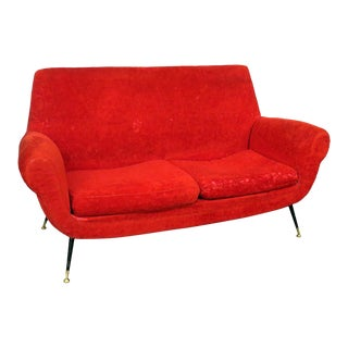 Gio Ponti Style Red Upholstered Sofa For Sale