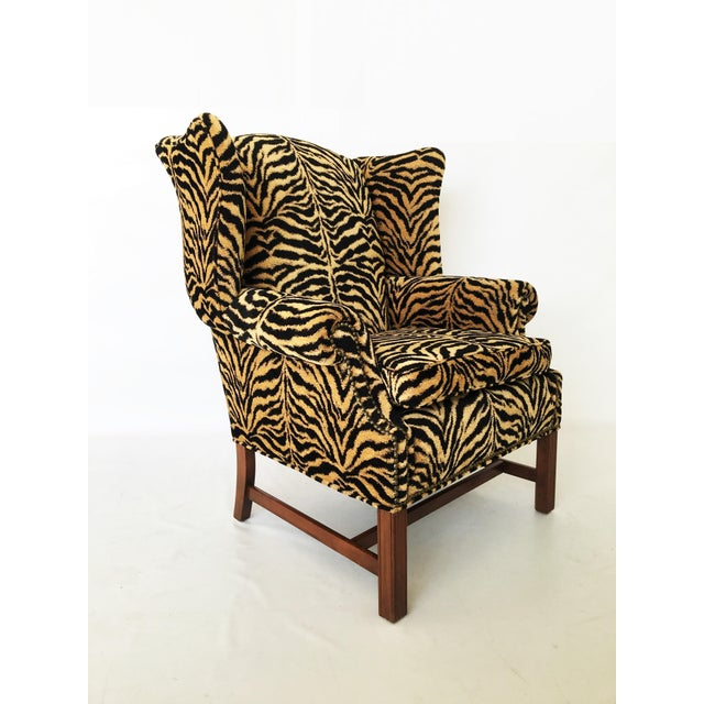 Georgian Style Mahogany Wingback Armchair in Scalamandré Le Tigre For Sale In Dallas - Image 6 of 8