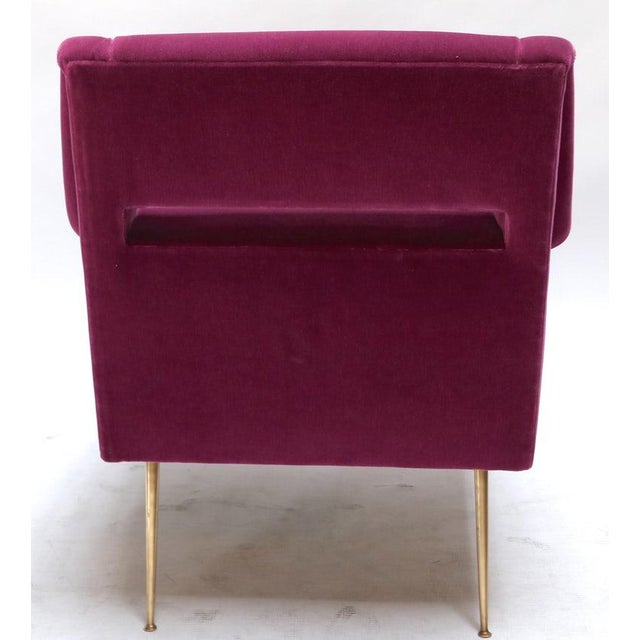 1960s 1960s Italian Style Fuchsia Mohair and Brass Armchairs - a Pair For Sale - Image 5 of 9