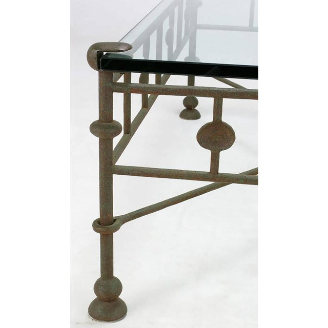 Giacometti-Style Patinated Hand-Wrought Iron and Glass Coffee Table - Image 5 of 6