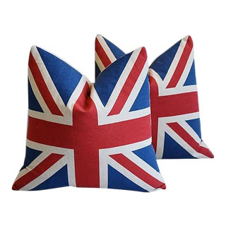Custom British Union Jack Flag Feather Pillows - A Pair For Sale