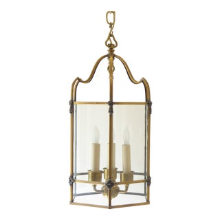 Vintage Traditional Brass Hexagonal Lantern For Sale