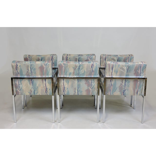 DIA - Design Institute America Six Design Institute of America Dia Mid-Century Modern Chrome Dining Chairs For Sale - Image 4 of 11