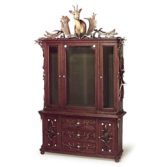 Continental 'German' Horn and Oak Bookcase Cabinet For Sale - Image 4 of 4
