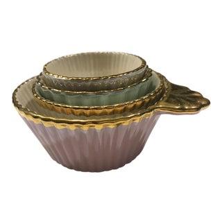 Anthropologie Gold Trimmed Measuring Cups - Set of 4