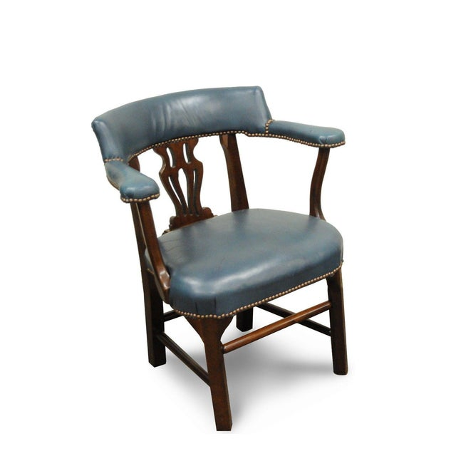 Vintage Ephraim Marsh Chippendale Blue Leather & Mahogany Library Office Arm Chair - Image 11 of 11