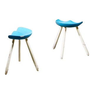 Arne Hovmand-Olsen Pair of Tripod Stools, Denmark For Sale
