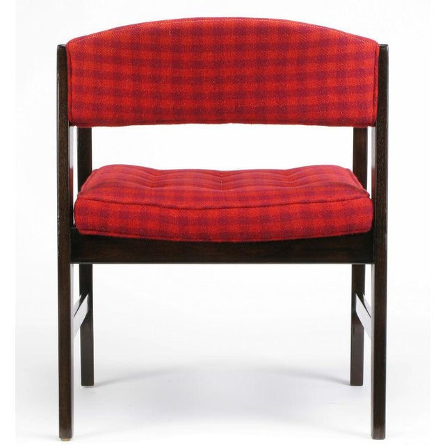Dunbar Walnut & Crimson Check Upholstered Arm Chair For Sale In Chicago - Image 6 of 10