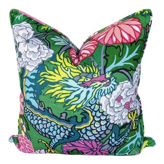 Chinoiserie Jade Colorway Chiang Mai Dragon Pillow Cover For Sale