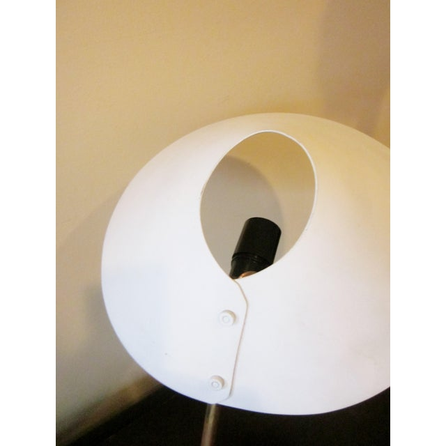 1950s Angular French Modernist Counterweight White UFO Shade Desk Lamp For Sale - Image 9 of 13