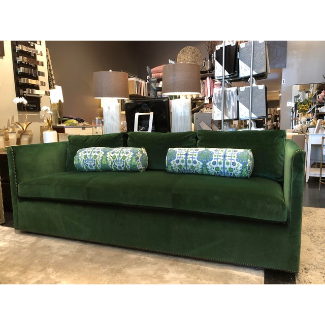 Luxurious emerald green velvet makes this Etienne sofa from Highland House Furniture a show stopper. Hand made (with an...