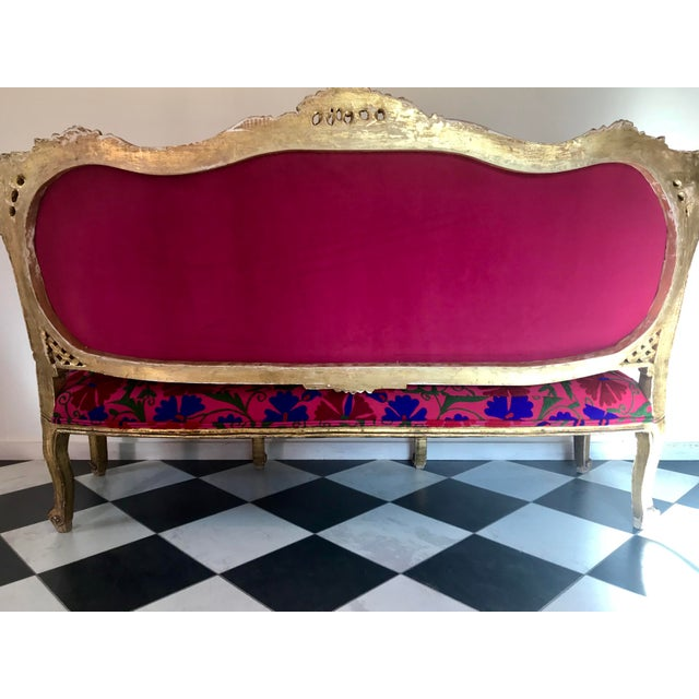 20th Century Boho Chic Red and Hot Pink Velvet French Settee - Image 4 of 11