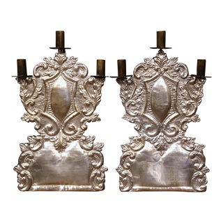 Mid-20th Century Italian Pair of Carved Brass Silvered Three-Light Candelabras For Sale