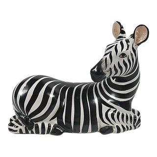 Mid 20th Century Italian Ceramic Zebra Figure For Sale