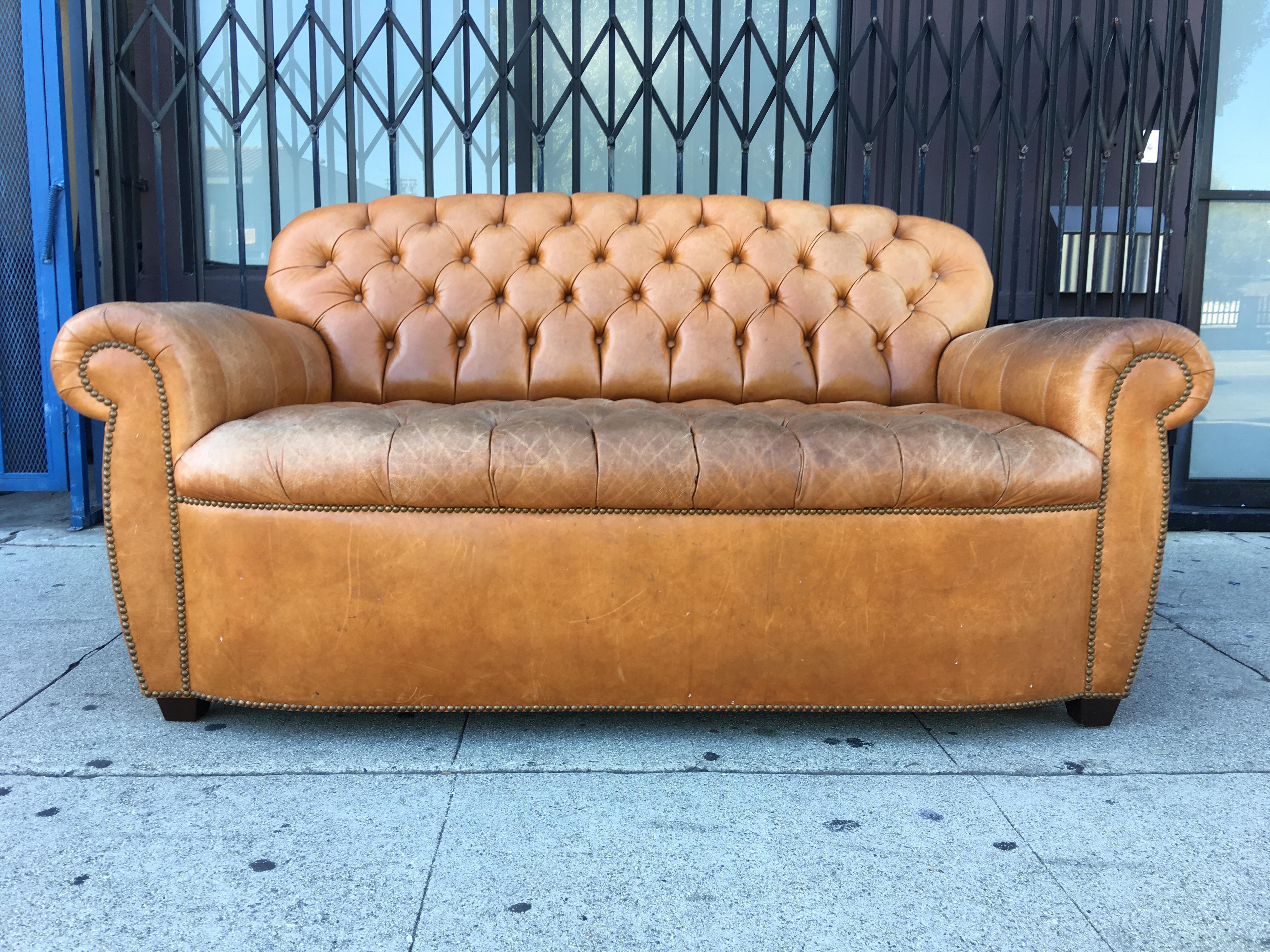 Vintage Tufted Aged Leather Sofa   Image 2 Of 7