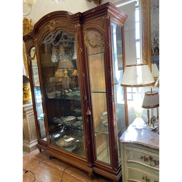 Brown 19th Century French Brozne Walnut and Bronze China Cabinet For Sale - Image 8 of 13