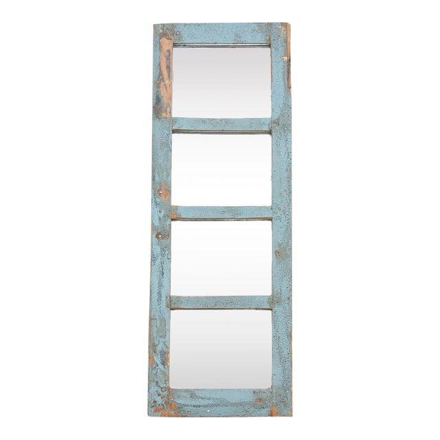 Rustic Paneled Window Mirror For Sale