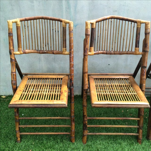 Bamboo Folding Chairs - Set of 4 - Image 4 of 11