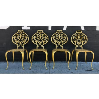 Set of 4 Gold Leafed Thinline Mfg Dining Chairs Preview