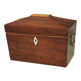 Antique Neoclassical Mahogany Tea Caddy For Sale
