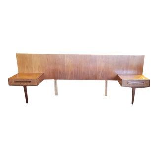 "Mid-Century Modern ""G-Plan"" Teak Bed Frame W/ Nightstands C.1960s For Sale"