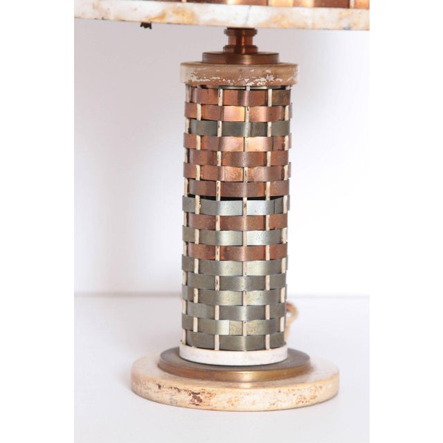 Machine Age Art Deco Sandel Table Lamp, Mixed Metal, Lacquered Wood For Sale In Dallas - Image 6 of 11