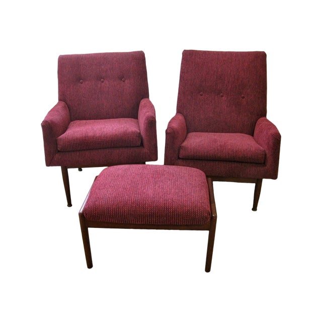 Jens Risom Male & Female Chairs & Ottoman - S/3 - Image 1 of 11