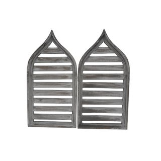 Pair Slatted Distressed Cottage Shabby Cathedral Wall Shutters Windows For Sale