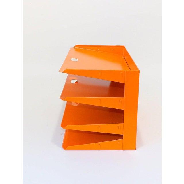 Mid 20th Century Orange Metal Desk Organizer For Sale - Image 5 of 7