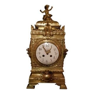 Large Antique Fattorini & Sons English Regency Bronze Mantel Clock For Sale