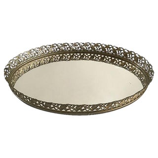 Vintage Filigree Gilt Mirror Vanity Tray For Sale
