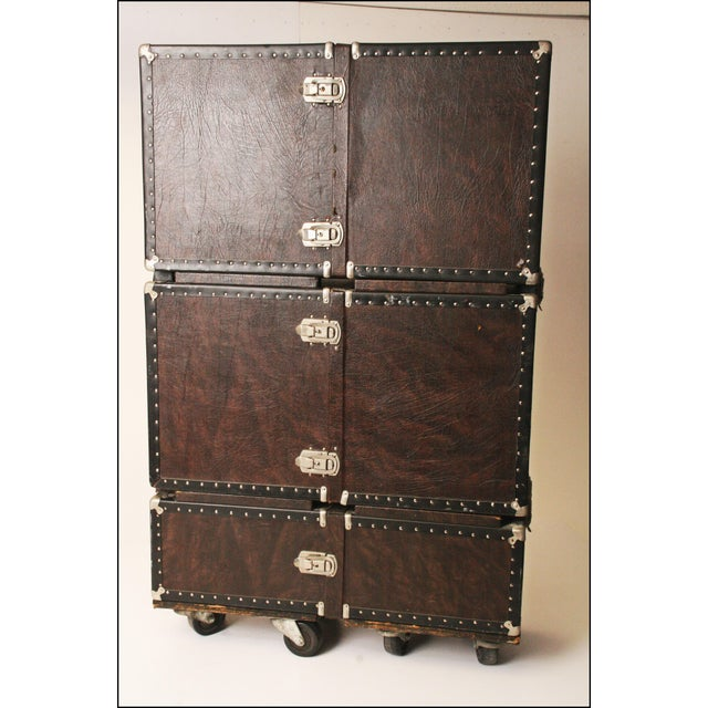 Vintage Industrial Black Steamer Storage Trunk - Image 8 of 11
