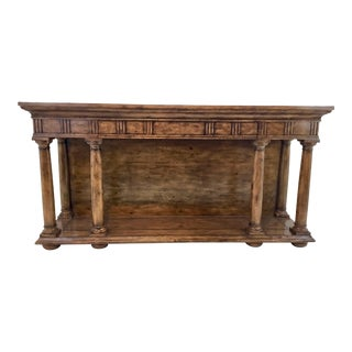 Transitional Thomas & Gray Portico Oak Finished Console Table For Sale